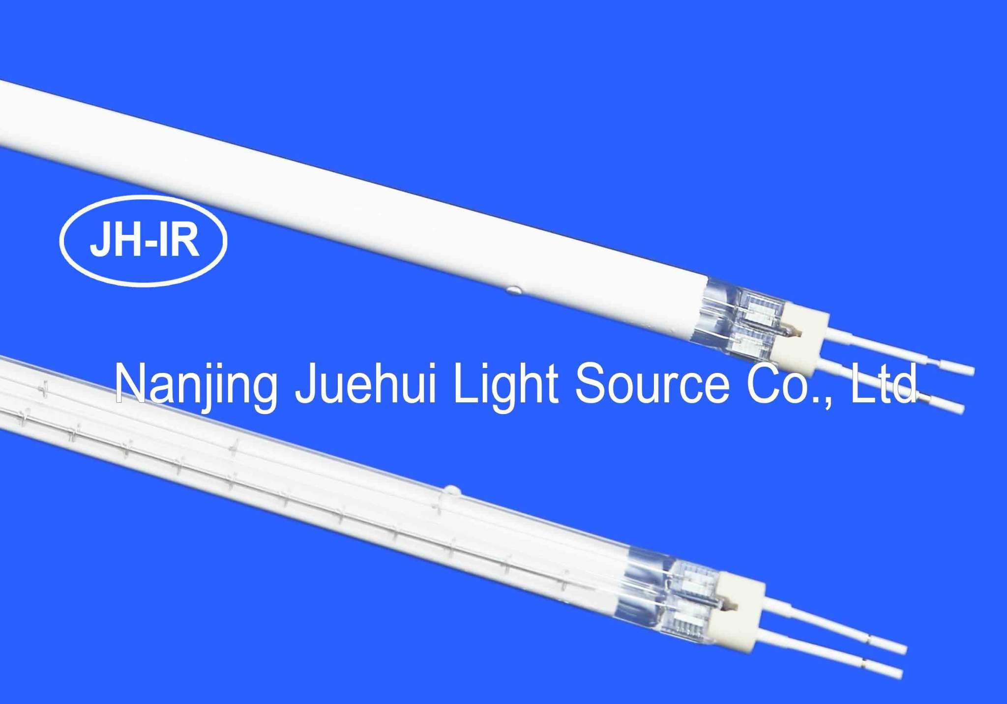 Twin tube infrared lamp with white coating
